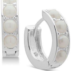 Silver Tone Imitation Pearl Huggie Hoop Earrings